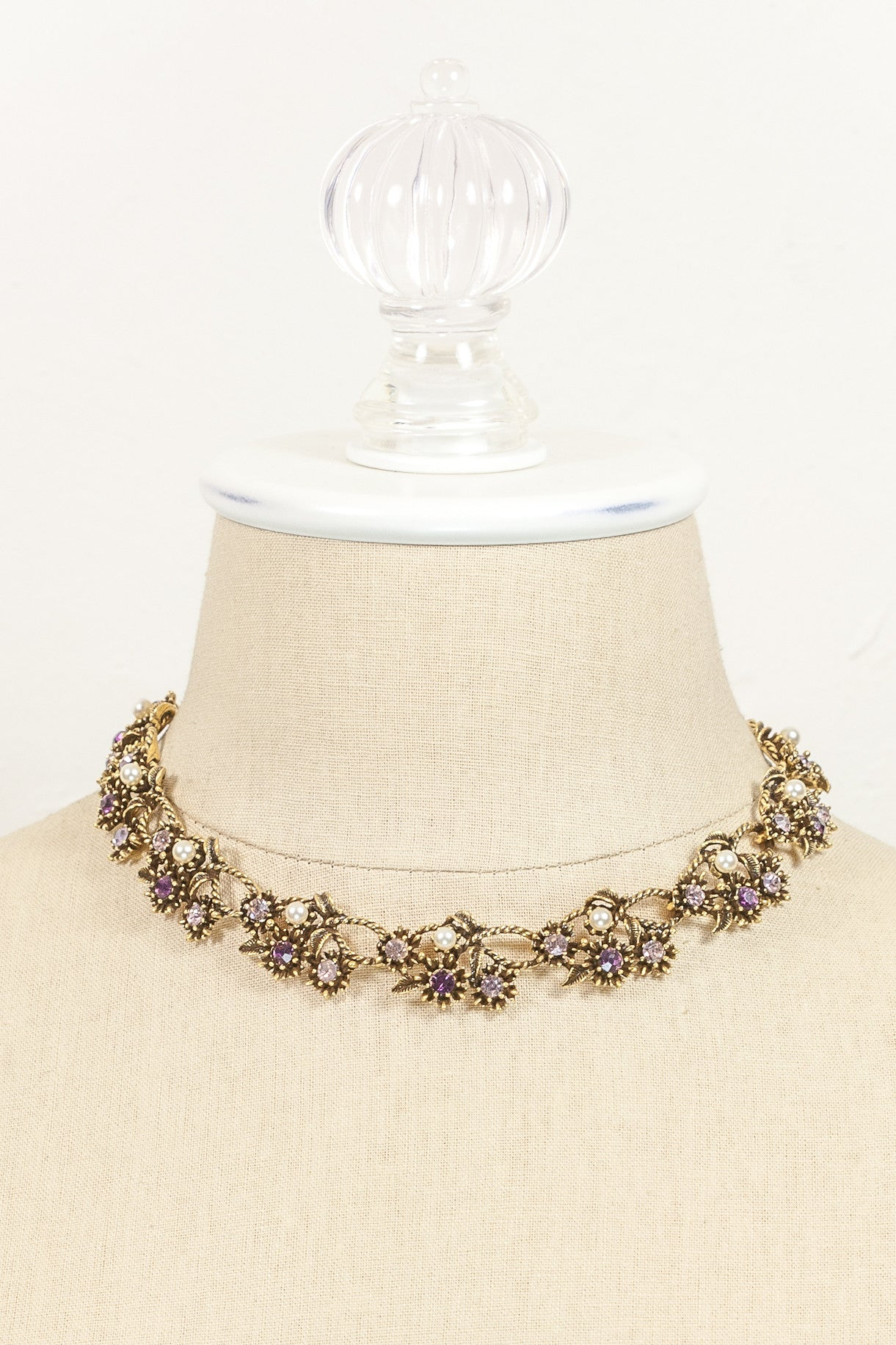 Vintage Coro Jeweled Cluster Necklace