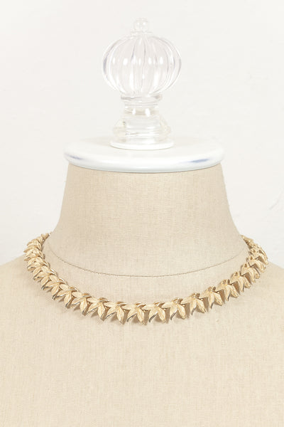 60's__Trifari__Gold Leaf Chain Necklace