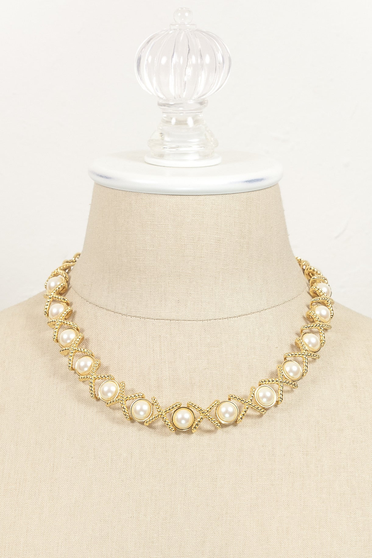 70's__Monet__Pearl X Link Necklace