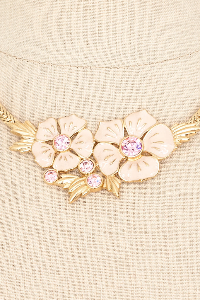 90's__Trifari__Pink Floral Necklace