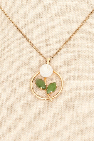 60's__Vintage__Rose Pendant Necklace