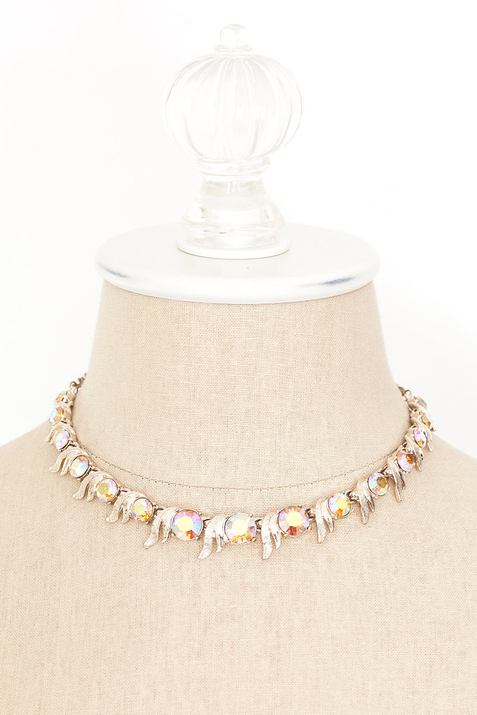 60's__Art__Irridescent Rhinestone Necklace