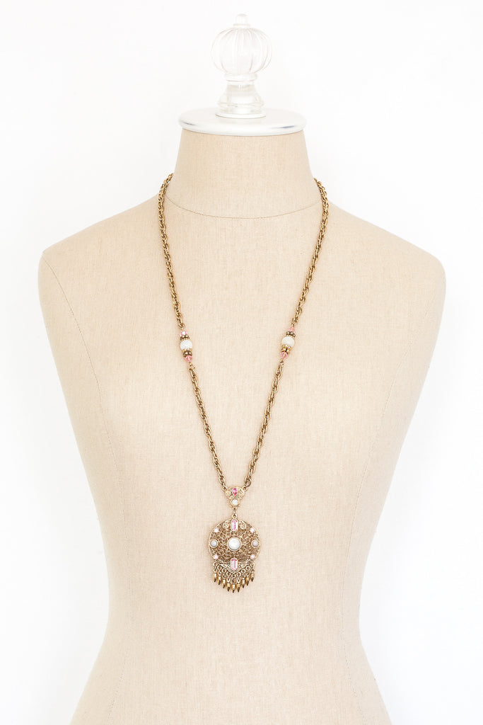 70's__Vintage__Pink Medallion Tassel Necklace