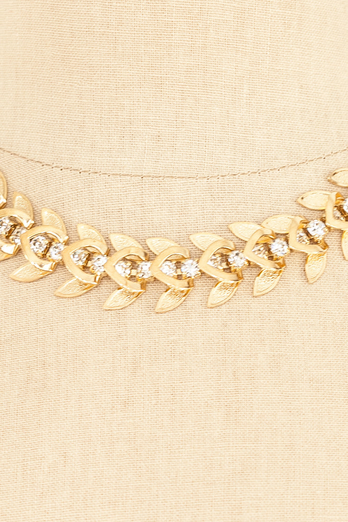 50's__Vintage__Rhinestone Feather Necklace