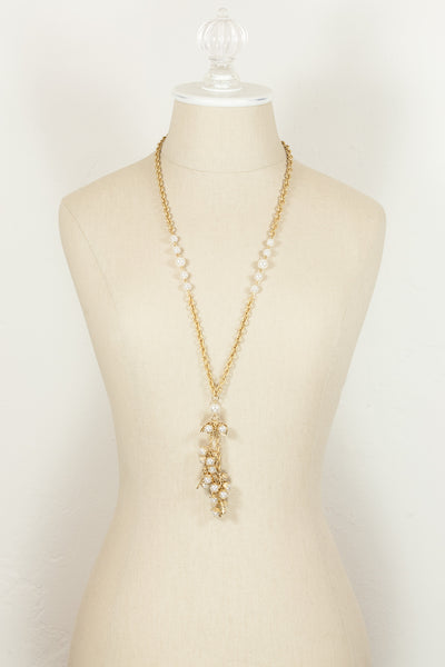 70's__Napier__Pearl  Leaf Tassel Necklace