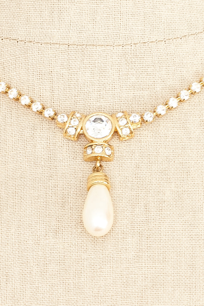 80's__Monet__Pearl Rhinestone Necklace