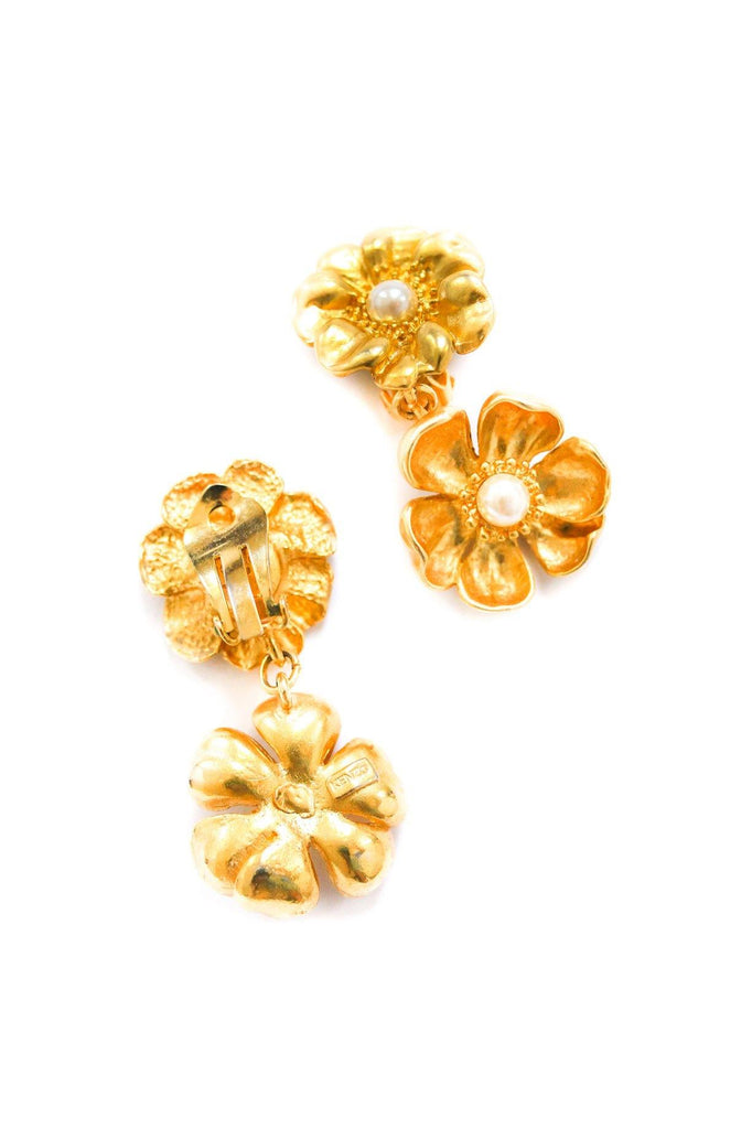 Kenzo Floral Pearl Clip-on Earrings