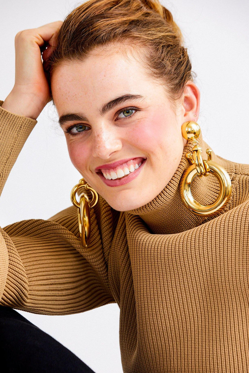 Statement Drop Hoop Clip-On Earrings