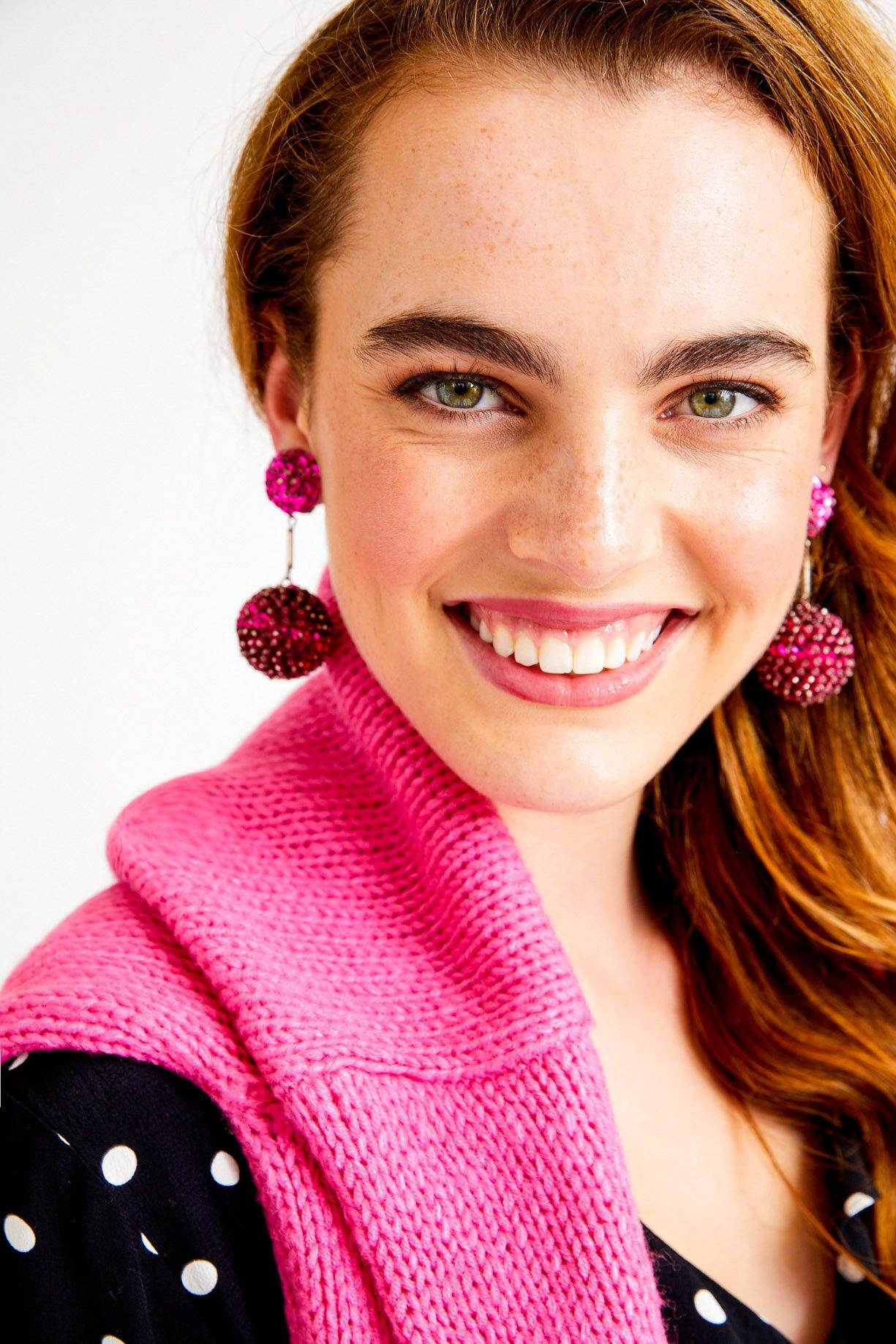 Pink Sequin Bon Bon Clip-On Earrings
