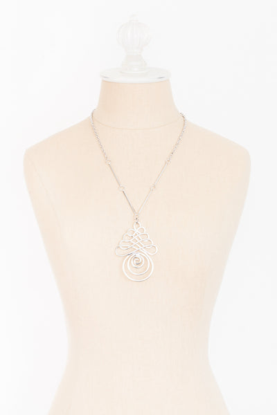 60's__Sarah Coventry__Silver Geo Swirl Necklace