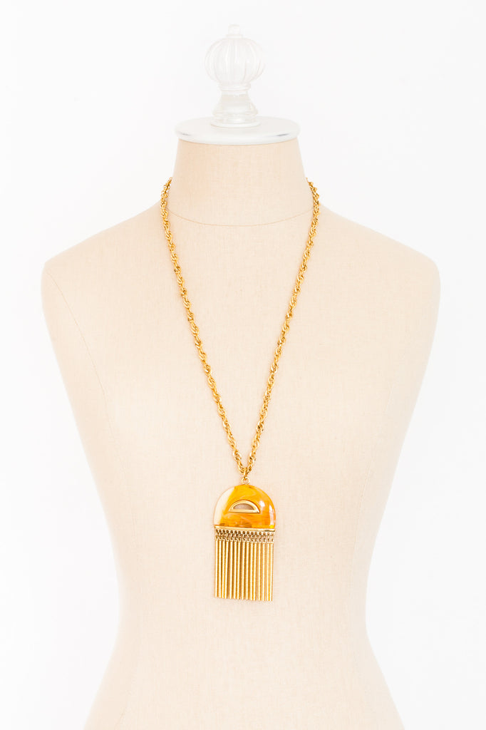 60's__Kramer__Lucite Tassel Necklace