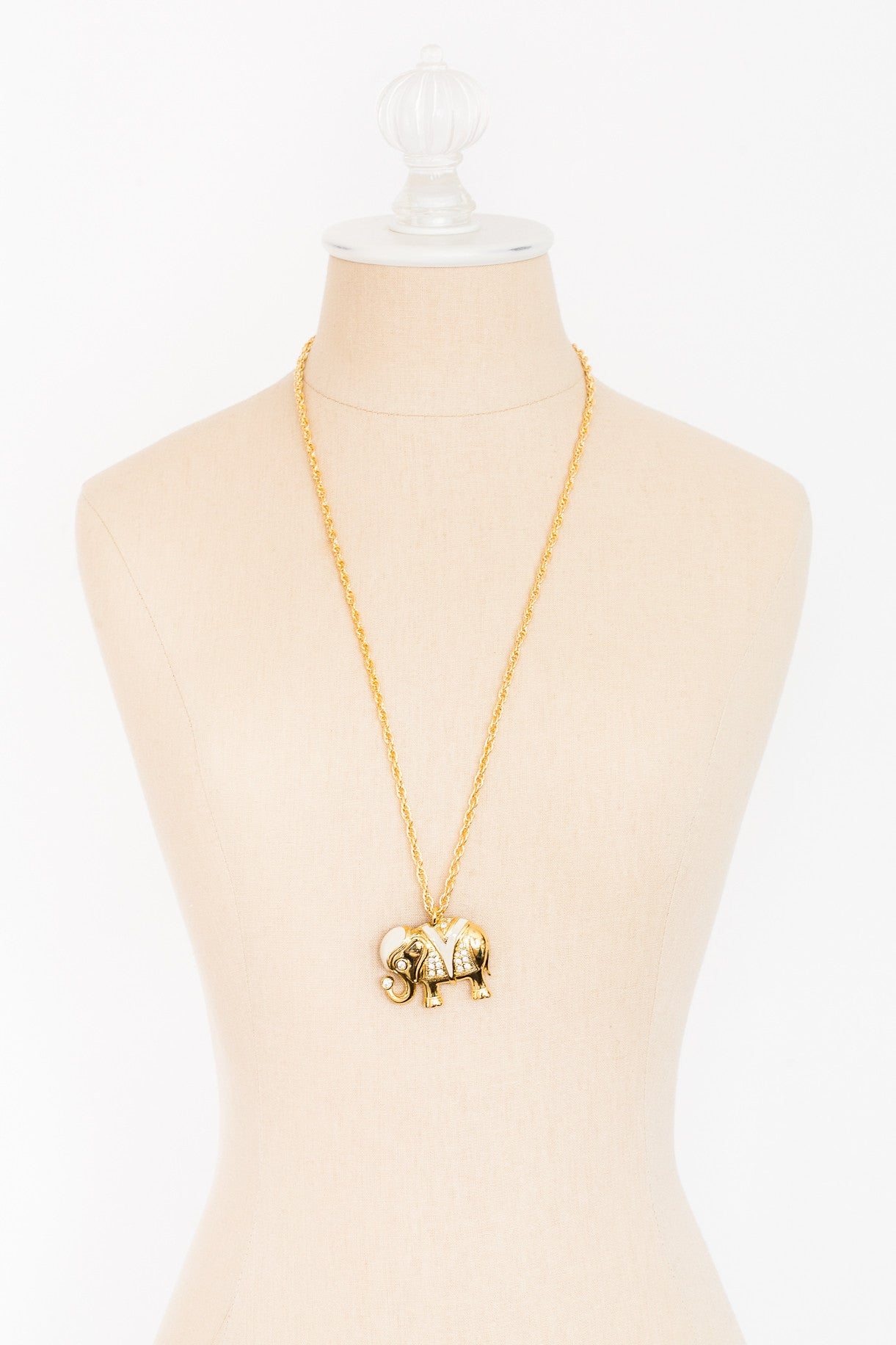 80's__Kenneth Jay Lane__Enamel Elephant Necklace