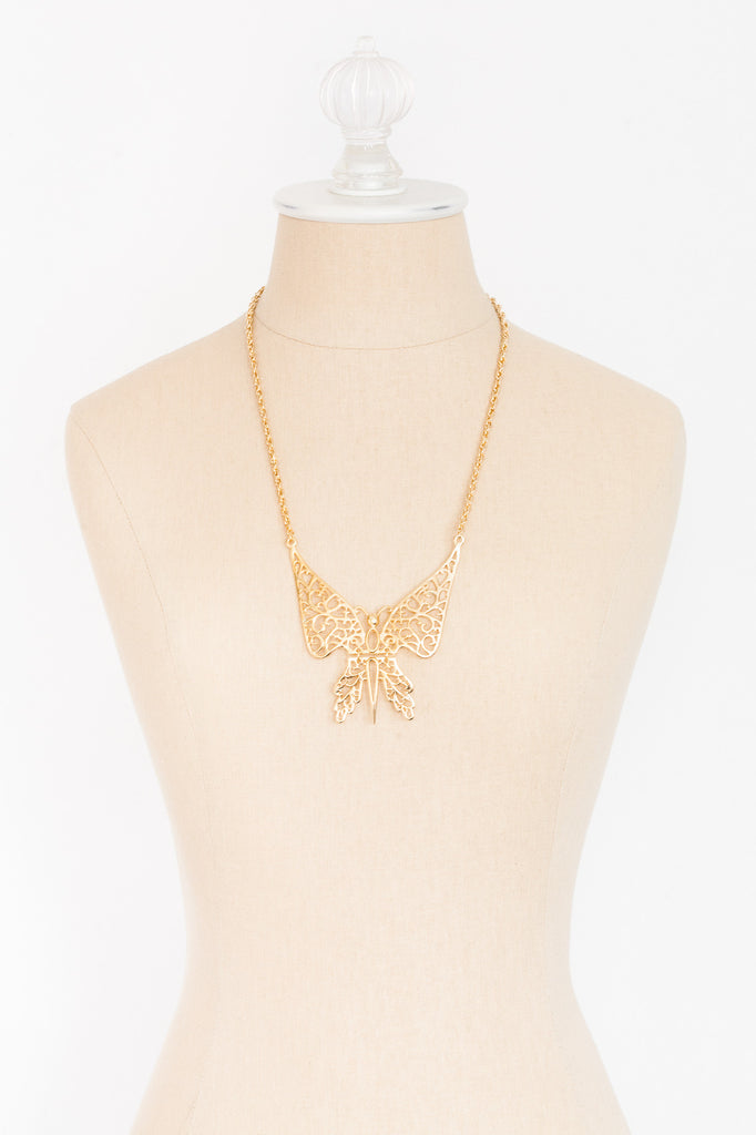60's__Vintage__Butterfly Necklace
