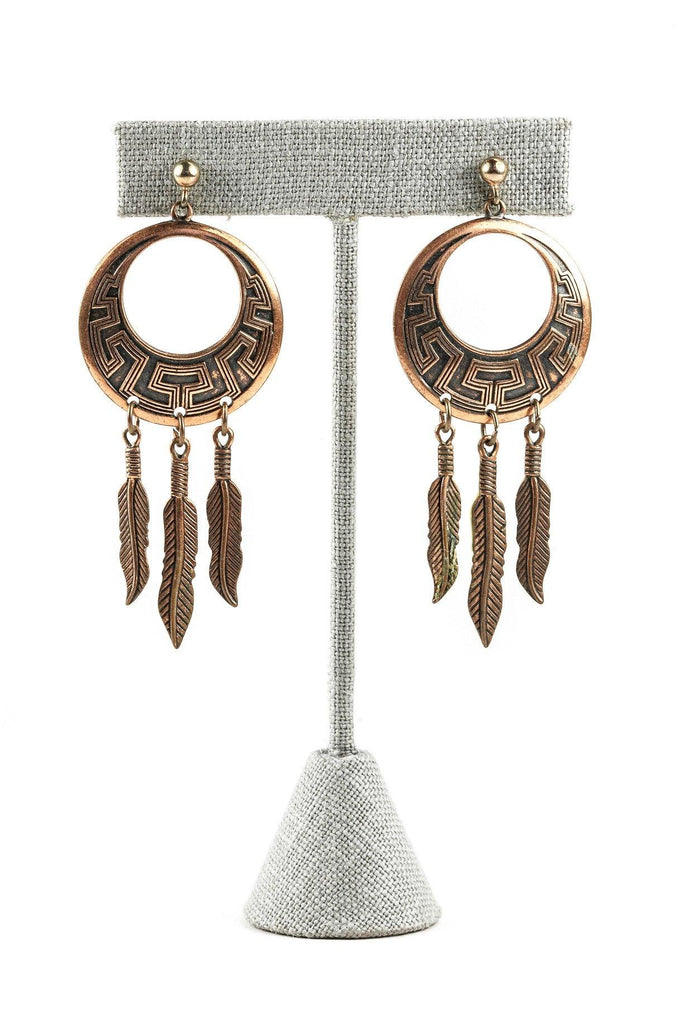70's__Vintage__Copper Dreamcatcher Earrings