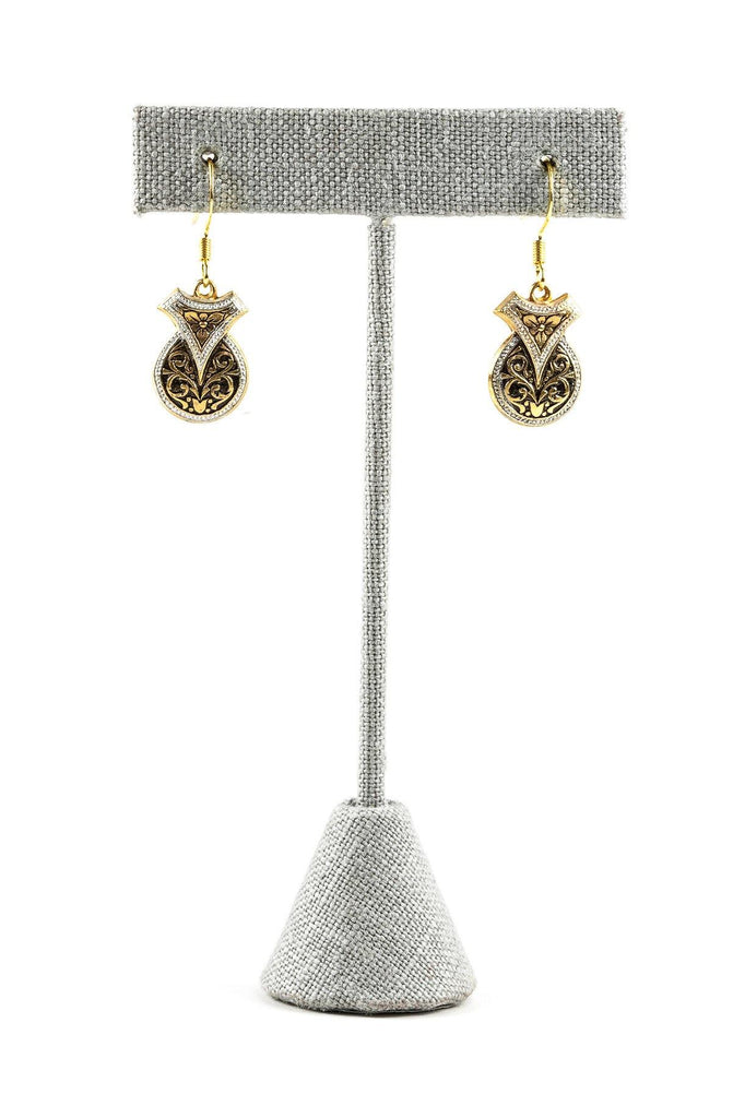 70's__Vintage__Damascene Drop Earrings