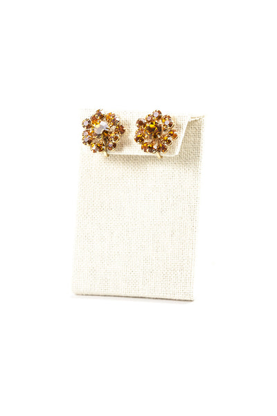 50's__Vintage__Amber Rhinestone Clips