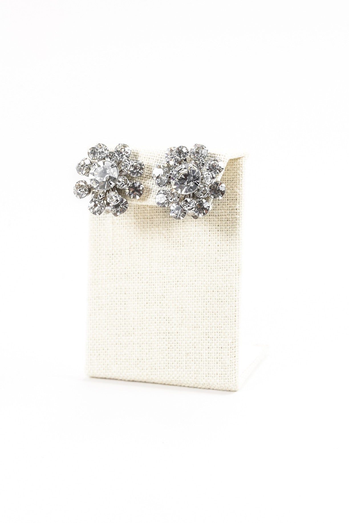 50's__Vintage__Rhinestone Floral Clips