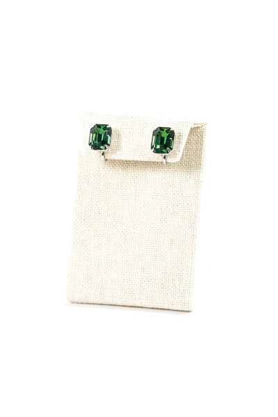 60's__Vintage__Emerald Green Rhinestone Clips