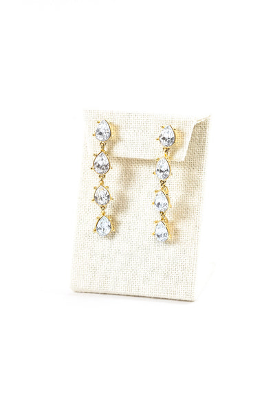 80's__Monet__Rhinestone Drop Statement Earrings