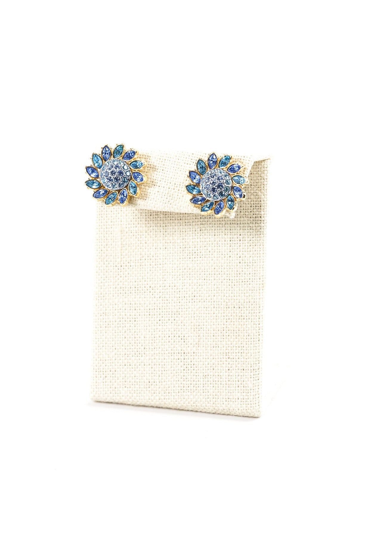 Vintage Blue Rhinestone Sunflower Earrings