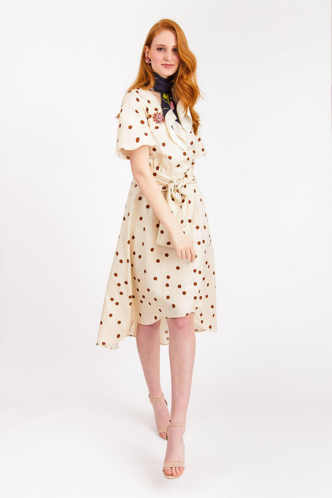 Moon River Linen Dot Wrap Dress