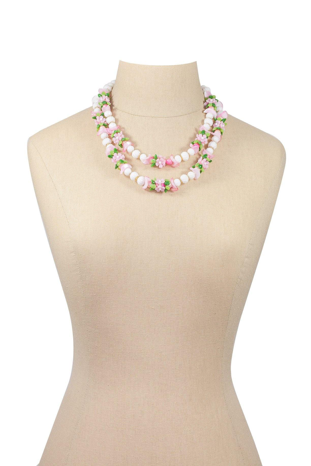 50's Vintage Beaded Floral Necklace