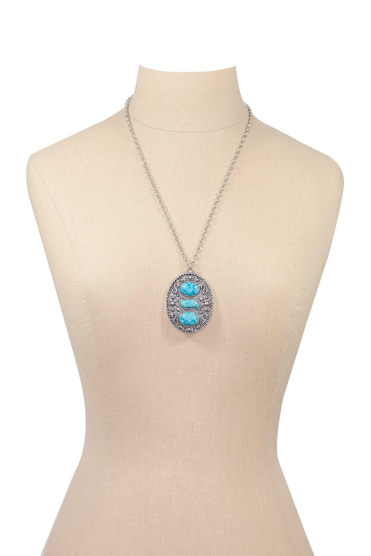 60's__Sarah Coventry__Turquoise Pendant Necklace