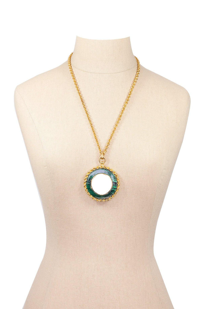 70's__Vintage__Malachite Locket Necklace