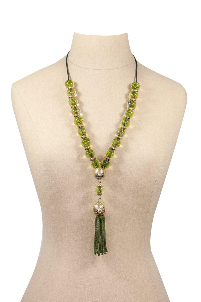 70's__Vintage__Beaded Tassel Necklace