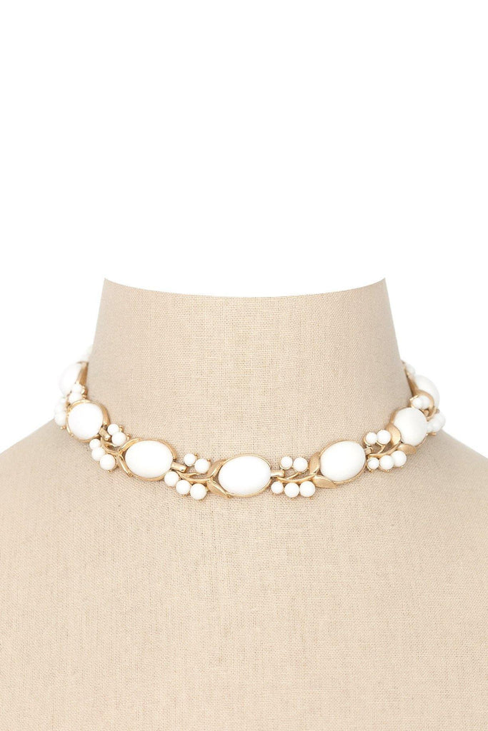 50's__Trifari__Milk Glass Choker Necklace