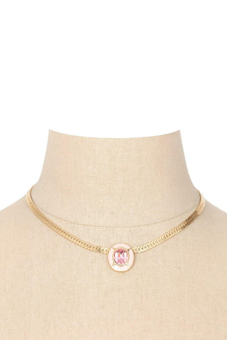 80's__Trifari__Pink Gem Necklace