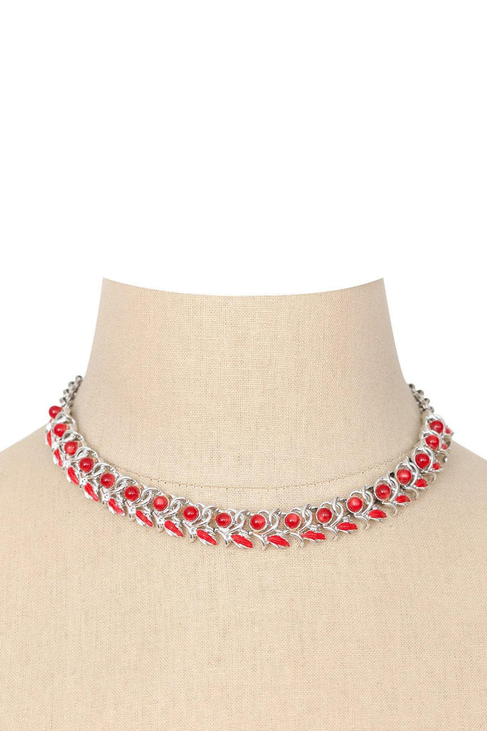 60's__Vintage__Embellished Silver Necklace