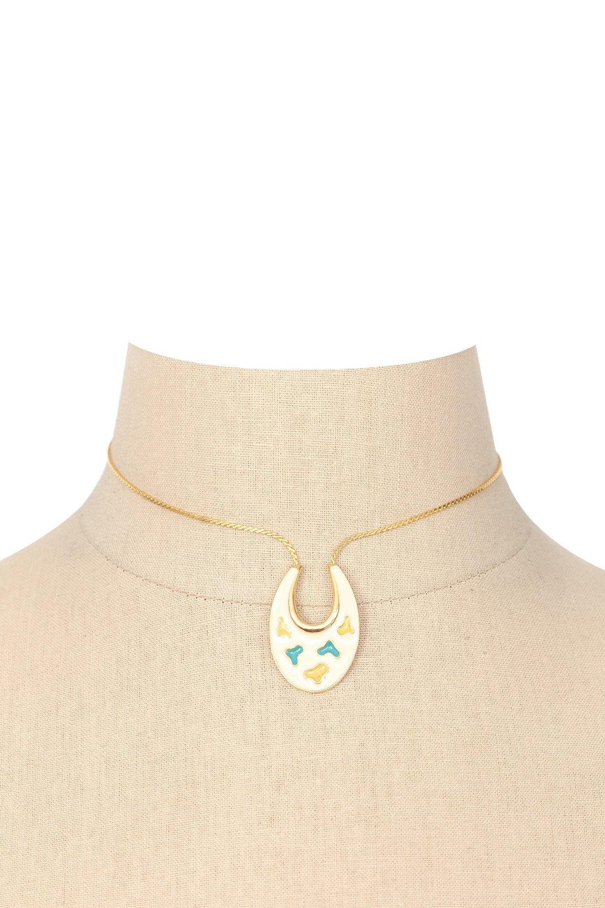 60's Art Enameled Pendant Necklace