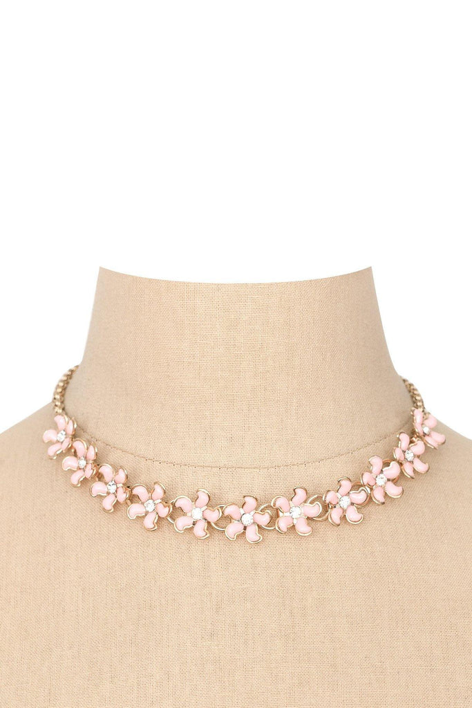 60s__Vintage__Pink Floral Necklace