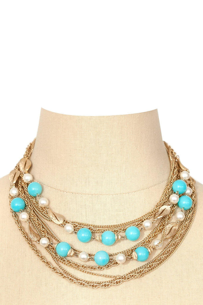 50's__Vintage__Embellished Multichain Necklace