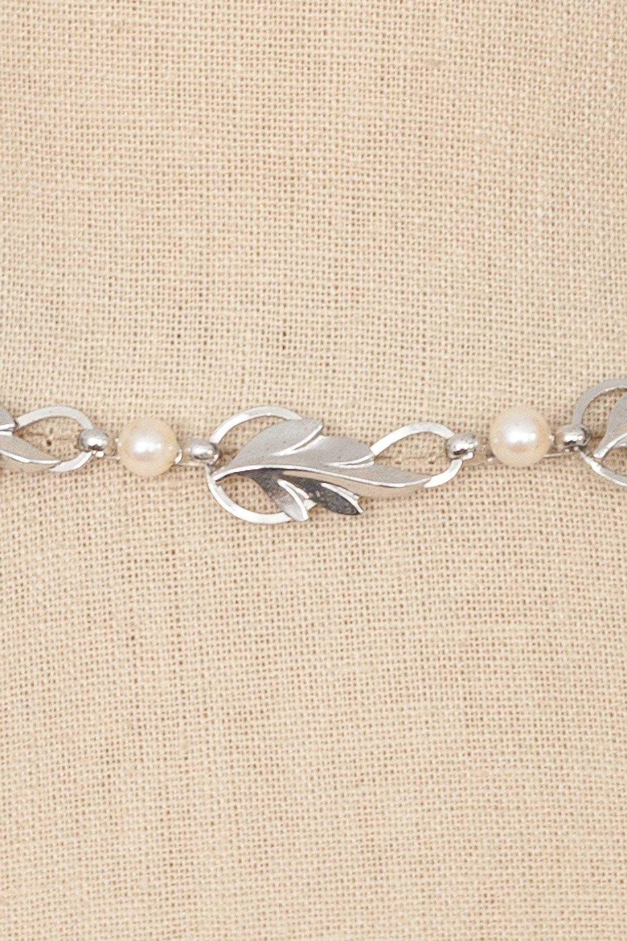 50's__Vintage__Sterling Silver Pearl Choker Necklace