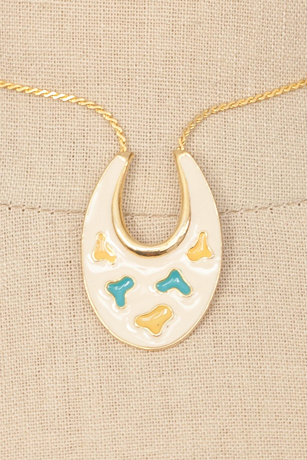 60's__Art__Enameled Pendant Necklace