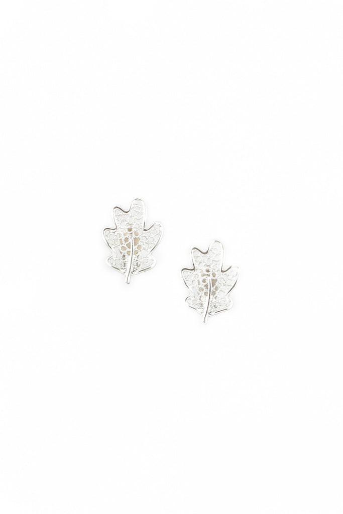 60's__Sarah Coventry__Silver Lattice Leaf Earrings