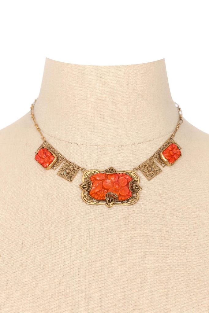 50's__Vintage__Floral Coral Necklace
