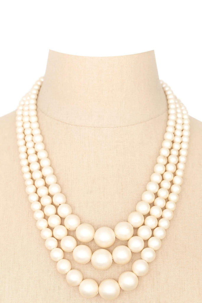 50's__Vintage__Chunky Multi-Chain Pearl Necklace