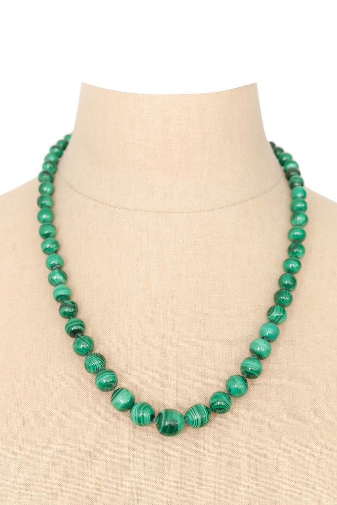 60's__Vintage__Malachite Beaded Necklace