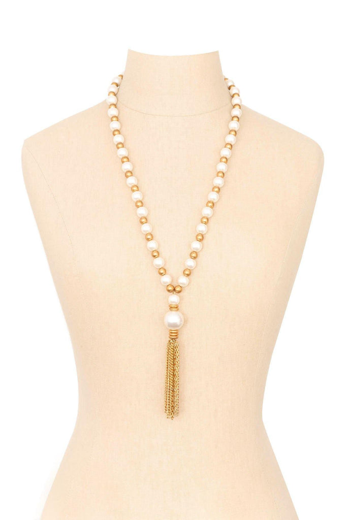 90's__Vintage__Pearl Tassel Necklace