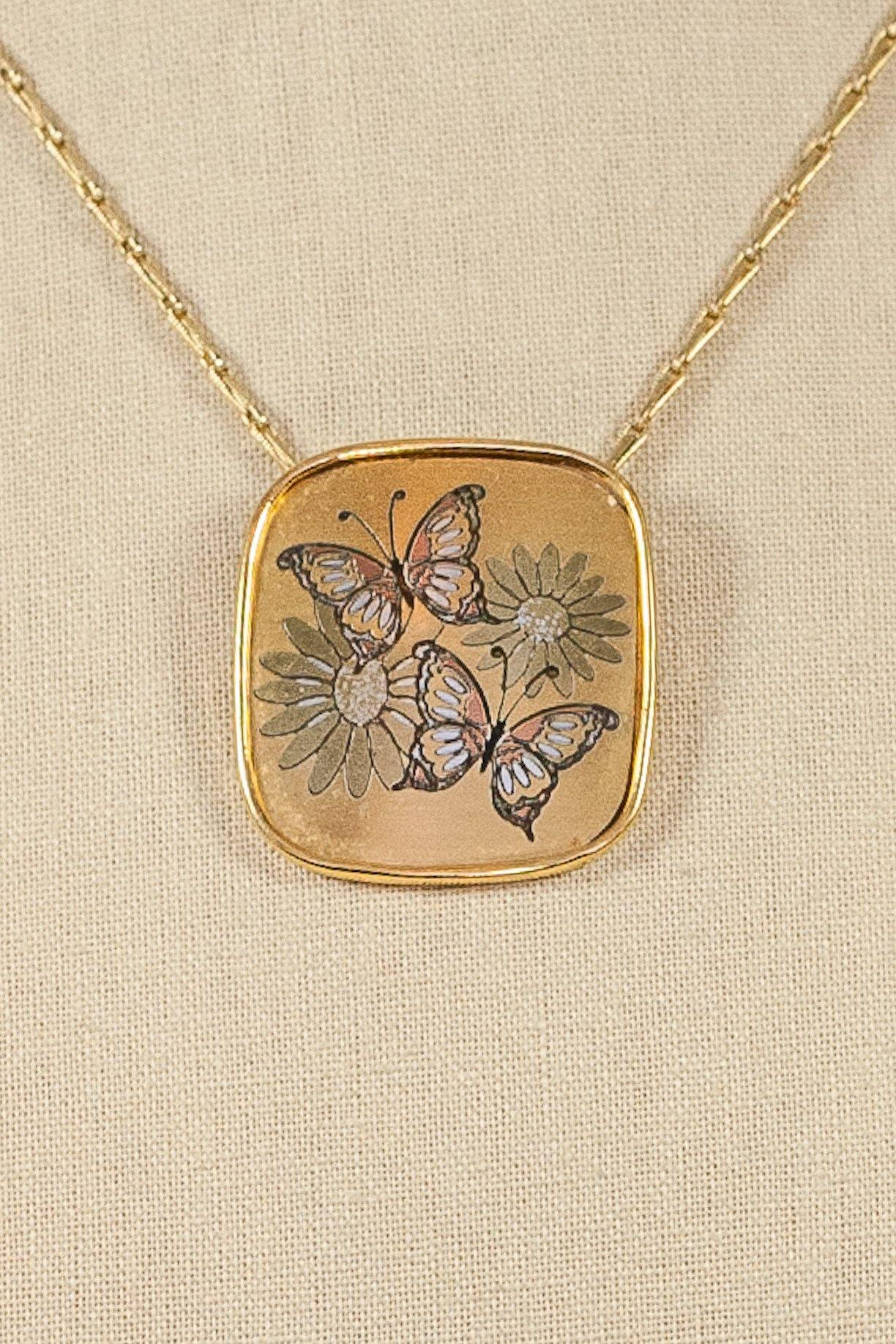 60's__Reed & Barton__Floral Damascene Pendant Necklace