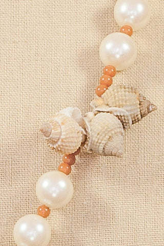 80's__Anne Klein__Seashell and Faux Pearl Necklace