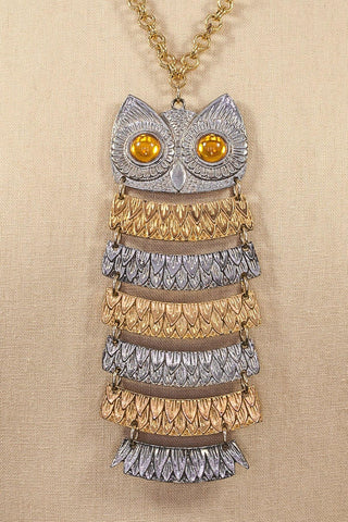 60's__Celebrity__Statement Owl Pendant Necklace