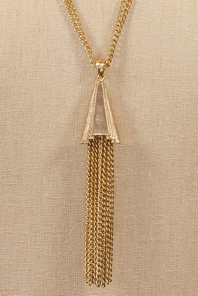 70's__Monet__Tassel Pendant Necklace