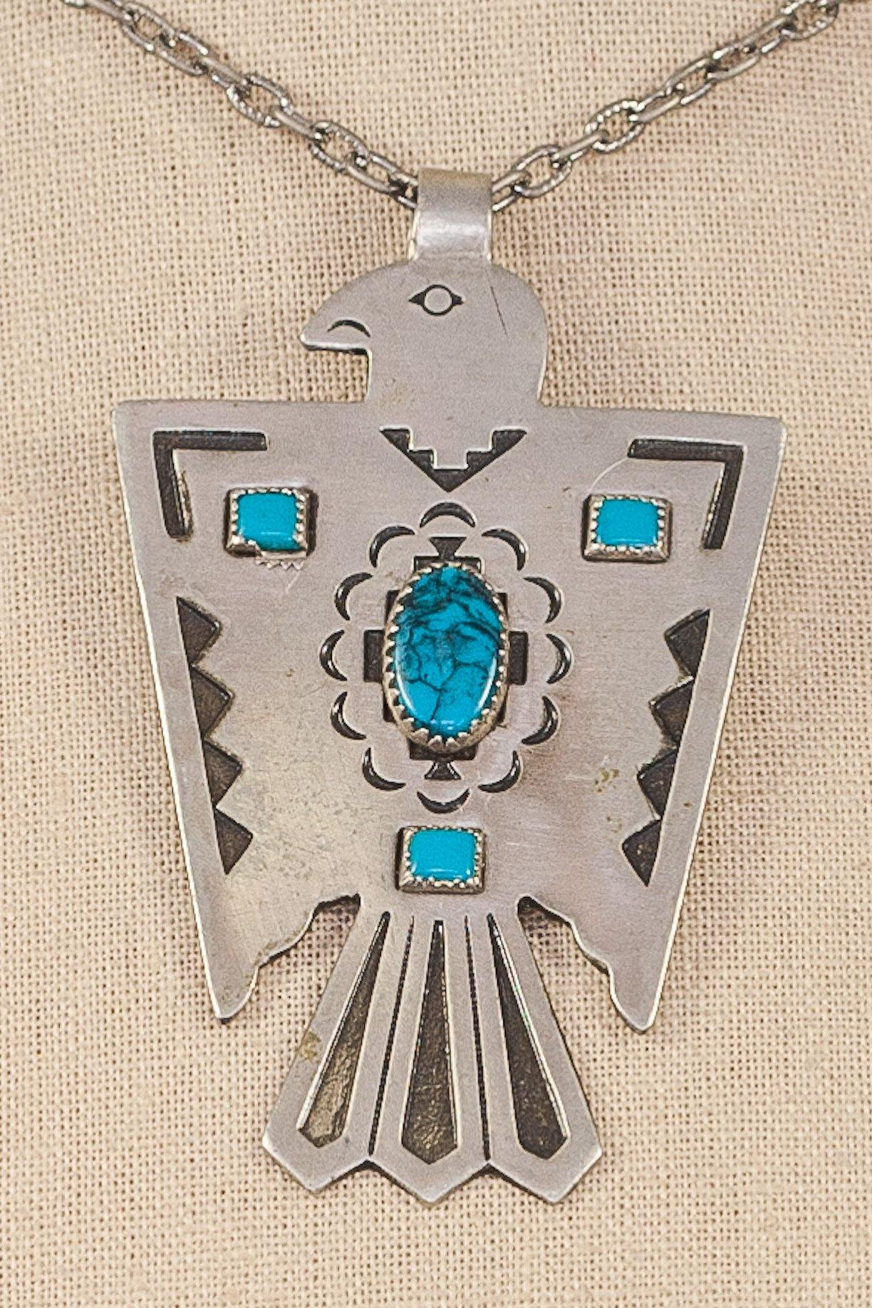 70's__Vintage__Turquoise Hawk Necklace