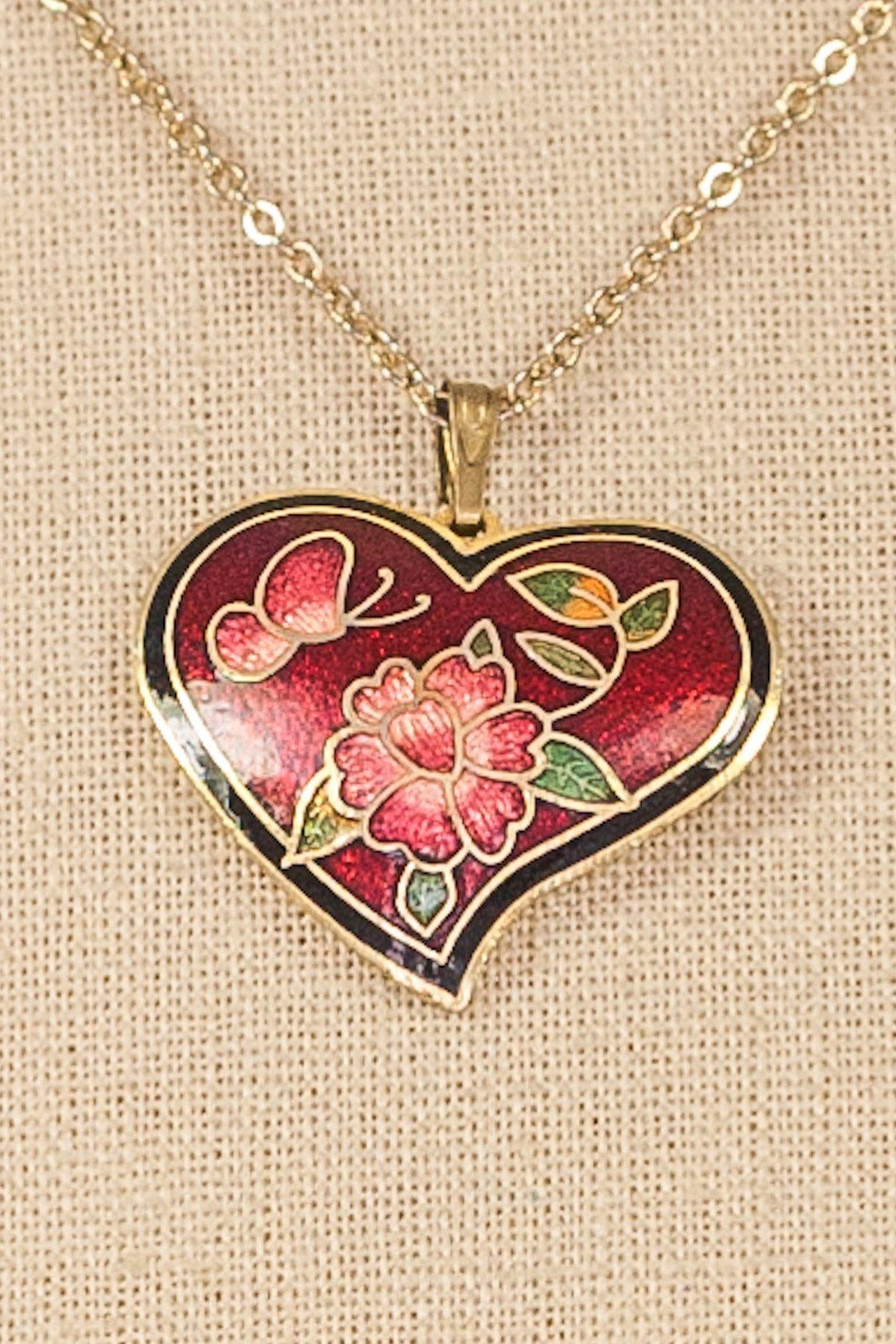 60's__Vintage__Floral Heart Pendant Necklace