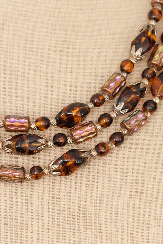 50's__Vintage__Glass Bead Multi-Strand Necklace
