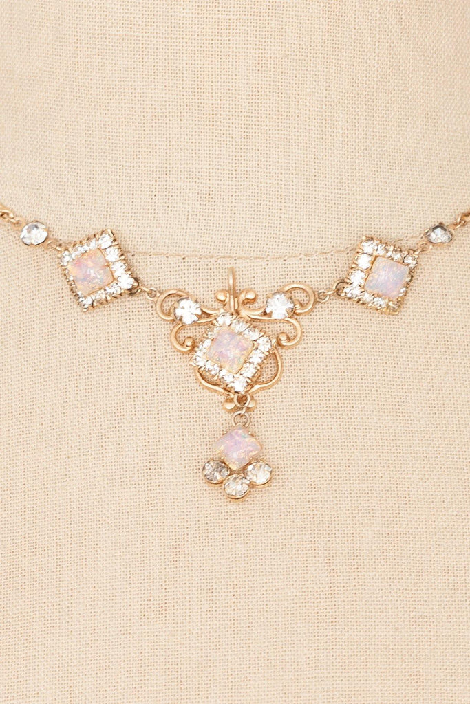 50's__Vintage__Opal & Rhinestone Necklace
